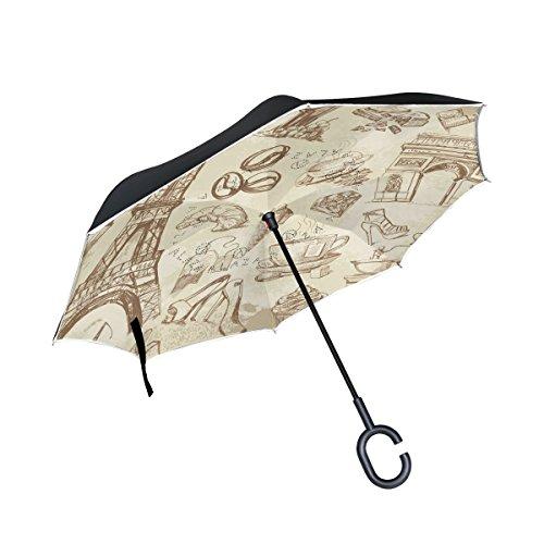 bennigiry Paris Eiffelturm drucken Double Layer seitenverkehrt Regenschirme, Rückseite Falten Regenschirm Winddicht UV-Schutz Big gerade Regenschirm für Auto Regen Outdoor mit C-förmigem Henkel