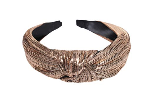 Vogue Hair Accessories Korean Style Solid Shimmer Fabric Knot Plastic Hairband Headband for Girls and Woman (Shimmer Brown)