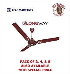 Longway Star Deco Delux 1200 mm High Speed (100% Copper) Ceiling Fan - 400 RPM - 3 Years Warranty (Brown, Pack of 1)