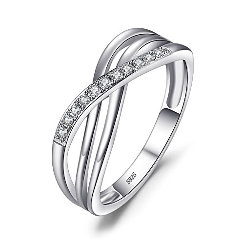 Jewelrypalace 0.1ct Liebe der Kreuzung Einfach Damen Hochzeit Verlobung Trauung Partnerschaft Silberring Ring 925 Sterling Silber