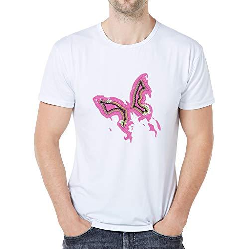 Tyoby Herren Modal Slim Fit T-Shirt Bedrucken,Vorzüglich Weich Lustig Gemaltes Gesicht Tops (Weiß,XXXL)