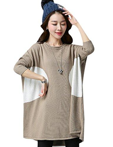 Youlee Femmes Bloc de couleur Grande taille Pull en tricot Kamel