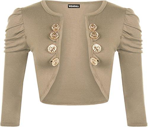 WearAll - Damen Knopfverschluss Elastisch Geraffte Kurzarm Strickjacke Cardigan Top - Mokka - 36-38 (Gold Cardigan)