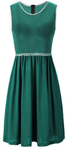 KorMei Damen Ärmelloses Beiläufiges Strandkleid Sommerkleid Tank Kleid Ausgestelltes Trägerkleid Knielang Grün-D26 XL