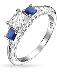 Bling Jewelry 925 Silver 3 Stone Simulated Sapphire Princess Cut Engagement Ring