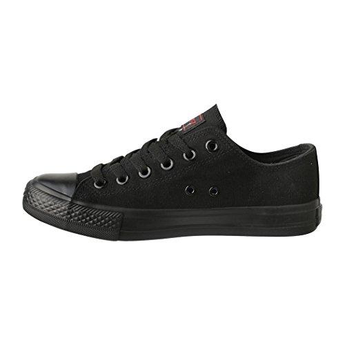 Elara Femmes Baskets Low Loisirs Chaussures de Sport Basic Lacets tout noir