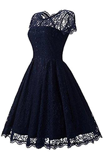 Adodress Elegantes Frauen Kleid Spitze Kleid CocktailKleid Knielanges Weinlese 50s Hochzeitsfest Ballkleid Navy Blau