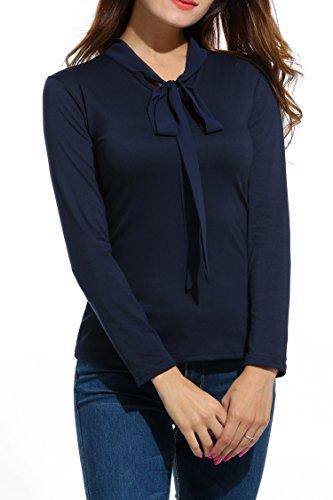 Meaneor Damen Schleife Blusenshirt Business Bluse Business Shirt Schluppenbluse Schluppenshirt Langarmshirt Hemdbluse Slim Fit Oberteil Marineblau