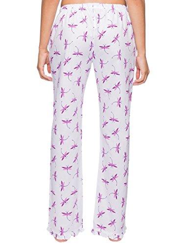 Noble Mount Lounge Bas de pyjama en popeline - Imprimé- Pour Femme Libellule Blanc/Violet