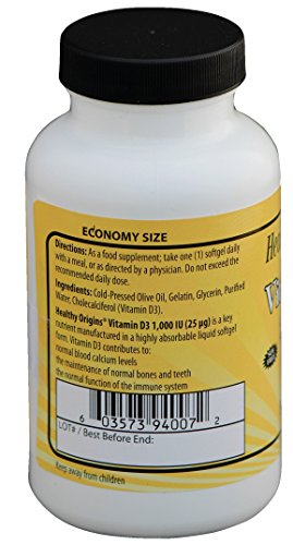 Healthy Origins1000 IU Vitamin D3 Liquid Gels – Pack of 360