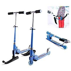 ZQQ Kunststoffrodel,2 in 1 Schnee Schlitten Skiroller, Justierbarer Roller Doppelgebrauchsschlitten Für Kinder Multifunktionales Faltendes Schnee-Schlitten-Skateboard