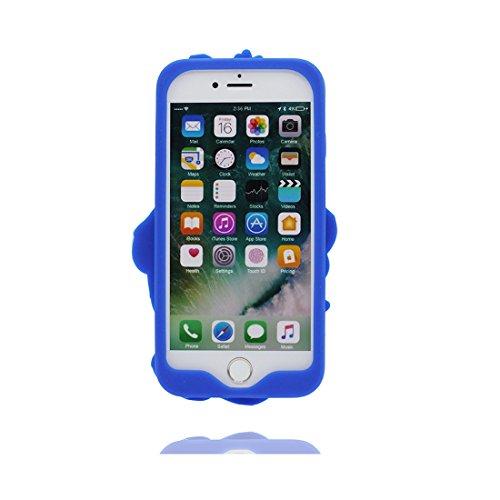 iPhone 7 Custodia Cover, Durevole Shell TPU Flexible iPhone 7 Copertura Case 4.7 A prova di polvere (Cartoon 3D orso) Bear Pretty Soft blu blu