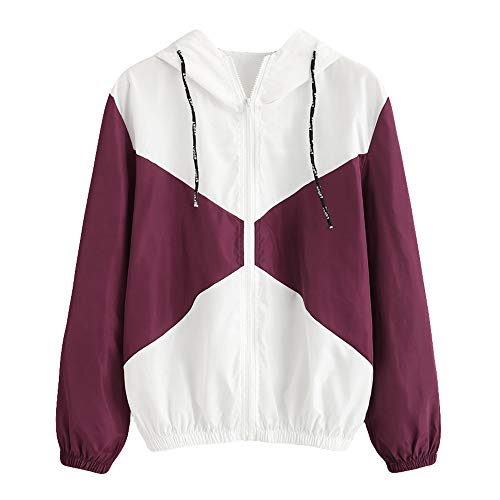 Damen Patchwork Mantel Dünne Skinsuits mit Kapuze Reißverschluss Taschen Sport Mantel Frauen Lässige Langarm MYMYG Sweatshirt Oversize (C1-Wein,EU:34/CN-S)