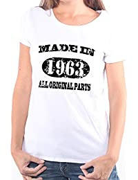 Mister Merchandise Femme Chemise T-Shirt 51 52 Made in 1963 All Original Parts Years Jahre Geburtstag , Ladies Tee Taille: XS, Couleur: Blanc