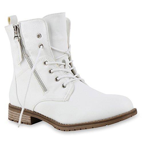 Damen Stiefeletten Schnürstiefeletten Worker Boots Zipper Schuhe 130635 Weiss 38 Flandell