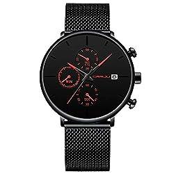 Herrenuhr Wasserdicht Analog Quarz Armbanduhr Mode Lässig Datum Kalender Dial Mesh Band Rot