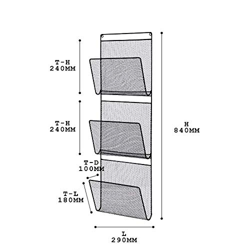 MDD Regalwand-Aktenhalter-Organisator, an der Wand befestigter/Tür-Metallbürozubehör-Speicher-Organisator platzsparend und einfach zu installieren,Schwarz -