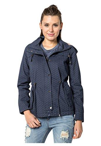 FRESH MADE Damen leichte Übergangsjacke aus Baumwolle mit Kapuze Frühlingsjacke Dark-Blue