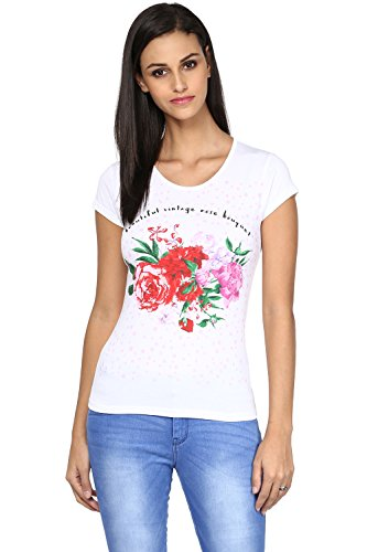 Honey by Pantaloons Women's Round Neck T-shirt (205000005661632, WHITE, XL)  available at amazon for Rs.269