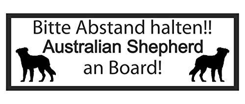Samunshi® Aufkleber Australian Shepherd an Board - Schild Sticker Hinweisschild Warnschild Vorsicht Hund 8 x 2,8cm schwarz -