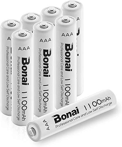 BONAI Akku AAA wiederaufladbare Batterien hohe Kapazität 1100mAh AAA NI-MH Akkubatterien (8 Stück)
