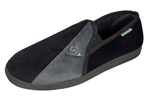 Herren Dunlop Winston II Hausschuhe mit super komfortabel gepolsterten Einlegesohlen schwarz und grau