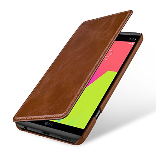 StilGut Book Type Case, Hülle Leder-Tasche für LG V20. Seitlich klappbares Flip-Case aus Echtleder für das Original LG V20, Cognac