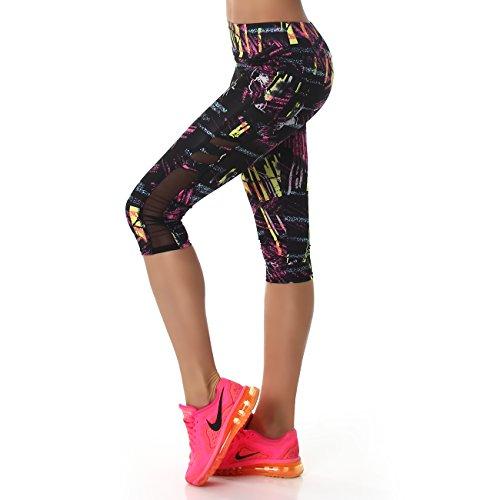 Damen Fitness Zweiteiler Capri Sport-Leggings und Sport-Top als Fitness-Anzug – verschiedene Muster - 6