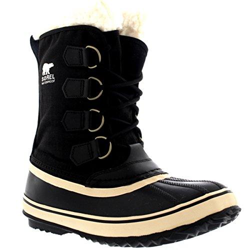 Schwarz Schnee Stiefel (Sorel Damen Winter Carnival Schnee Regen Wolle Wasserdicht Stiefel - Schwarz - 40)