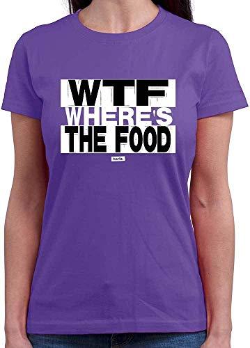 HARIZ Damen T-Shirt Rundhals WTF Wheres The Food Sprüche Schwarz Weiß Plus Geschenkkarte Lila - Wtf Party Kostüm