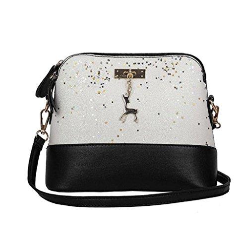 Rovinci Damen Handtasche Mode Schultertasche Pailletten Patchwork Hirsch Anhänger Süß Bag Tote Damen Umhängetasche Damenhandtasche Beuteltote Schulterbeutel Cross-Body Taschen mit Reißverschluss (Weiß) -