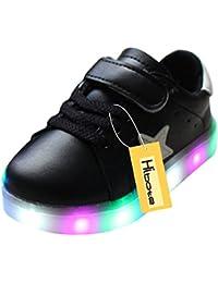 hibote Zapatos para niños pequeños Niños Niñas estrella brillante de luz negro EU 23