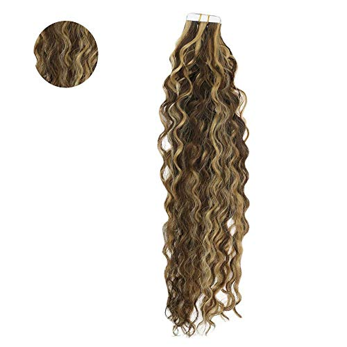 Easyouth Remy Tape In Erweiterungen 50g 18 Zoll Farbe #4 Mittelbraun Highlight With #27 Honigblond Klebeband Im Remy-Haar Skin Weft Professional Hair Extensions (Erweiterungen Remy-haar-highlight)