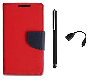 D'clair Combo of Flip Cover with OTG Cable and Stylus for Samsung Galaxy A3 Red