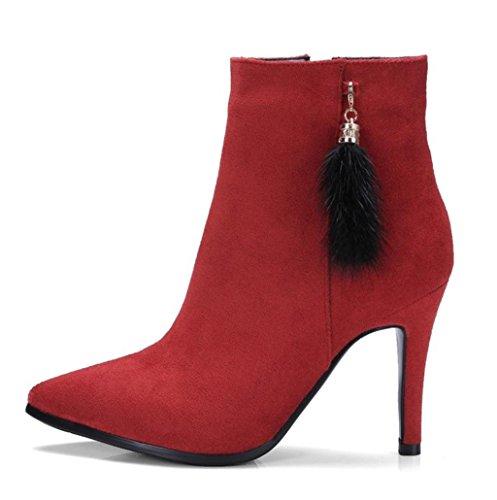 HETAO Persönlichkeit Heels Damenmode Charmante Farbe High Heel Martin Side Spitz Zeh Ankle Boots , 33 , red (cashmere) Temperament Elegant von Schuhen (Knie Boot Spitz Stiletto)