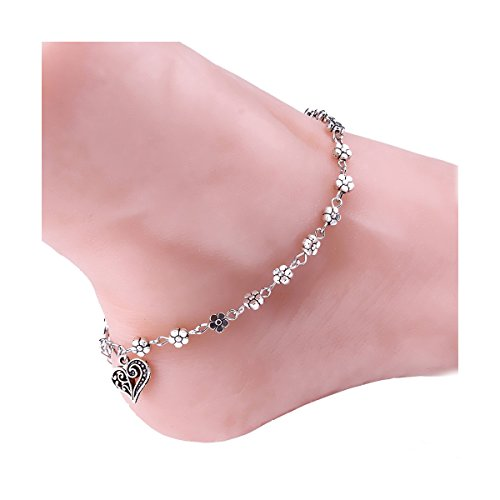 Bold N Elegant Antique Silver Plated Five Petal Flower Anklet Ankle Bracelet Barefoot Jewelry