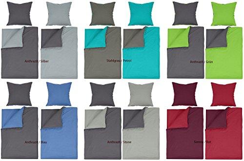 Renforcé Bettwäsche 2 od. 4 tlg. Garnitur 100% Baumwolle mit RV und gratis Naturawalk Gesichtstuch- Grösse 4 tlg. 135x200cm, Farbe Anthrazit / Stone