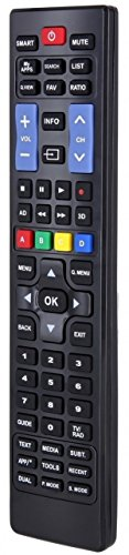 Samsung und LG TV Universal Ersatz-Fernbedienung Fernseher Smart LED Plasma ALLE Digital Fernseh-Geräte HIFI DVD Blu-ray Player HD DVB-S T2 C Receiver ab Modell 2000 – schwarz