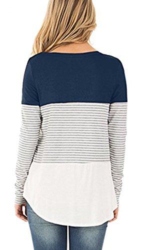 BLACKMYTH Donna Manica Lunga Shirt Casual Color Block Banda Camicetta Felpe Pizzo Loose Tunica blu navy
