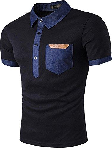 ccfad15dc0b Sportides Mens Leisure Polo Shirt Denim Lapel Collar Short Sleeve T Shirt  Tops JZA042 Black XL