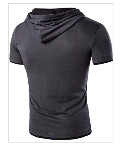 WSLCN Herren Sommer Kapuzenshirt kurzarm Poloshirt mit Kapuze Dunkelgrau