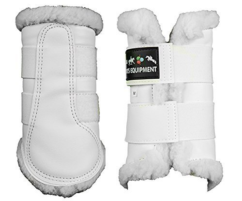 HKM DRESSAGE/BRUSHING BOOTS FLEECE LINED WHITE/BLK S-XL [Misc.]