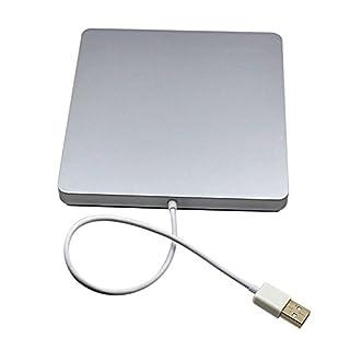 GEZICHTA Externes DVD-Laufwerk, USB 2.0 CD DVD D9 Disc, VCD, Brenner Drive Writer Player mit Hairline Finish für Windows, Laptop, iMac, MacBook, Acer und Desktop, PC, silberfarben
