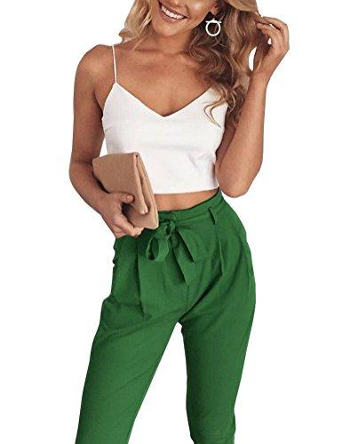 Fancyinn Damen 2 Stück Outfit Spaghetti Strap Crop Top Hose mit Gürtel Green L (2 Spielanzug Stück)