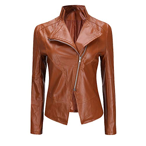 TUDUZ Damen Lederjacke, Frauen Kurz Revers Mantel Lederjacke Reißverschluss Parka Biker-Jacke S-XXXL