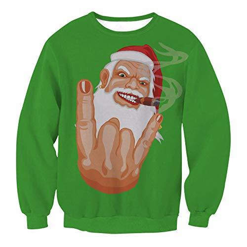Freche Santa (Damen Herren Sweatshirt Hoodies Europa Und Die Vereinigten Staaten Winter Pullover Pullover Rundhals Lose Große Größe Frauen Weihnachten Tag Kleidung, M, Frech Santa Claus)