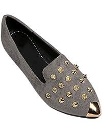 97c2c6383b47e Daytwork Mujer Antideslizante Puntiagudo Remache Solos Zapatos - Verano Moda  Casuales Planos de Tobillo Barco Mocasines