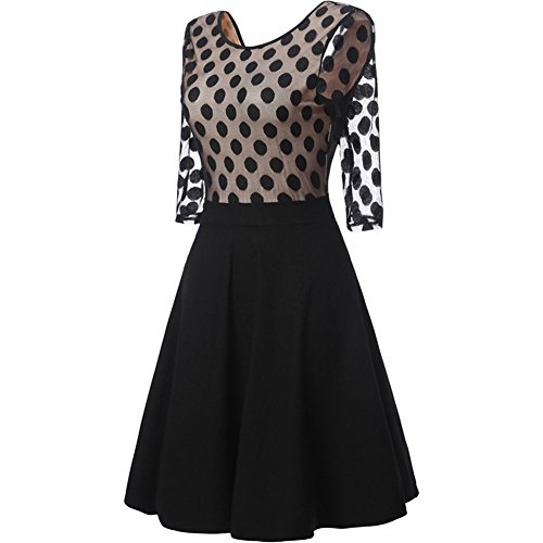 Rétro Année 1950 Style Polka Dot Robe Slim Rockabilly Swing Robe de Cocktail Noir