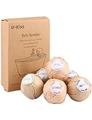 Bombes de Bain Coffret Cadeau 6 x 60g, U-Kiss Boules Effervescentes (Soins de Spa Hydratant avec Huiles Essentielles Naturelles, Fleurs Sèches) pour Femmes, Jeunes filles, Anniversaires, Fêtes, etc