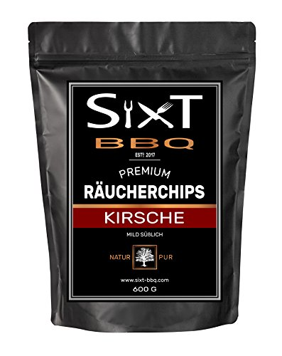 Barbecue Wood Smoking Chips Cherry Premium Original from Sixt BBQ Wood Chips for Kettle Grill & barbecue, Smoke by Naturally Sweet Flavour Wood Chips for Gas/Electric/Charcoal Grill